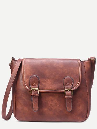 Camel Distressed Dual Buckle Flap Satchel Bag
