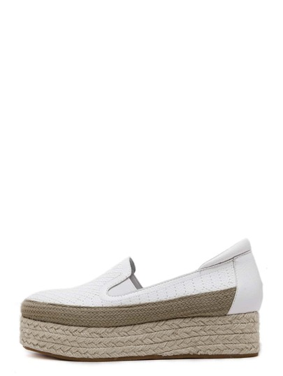 White Quilted Round Toe Elastic Espadrille Wedges