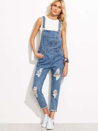 Blue Ripped Cuffed Overall Jeans