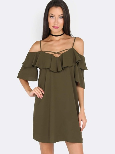 Spaghetti Strap Ruffle Dress OLIVE