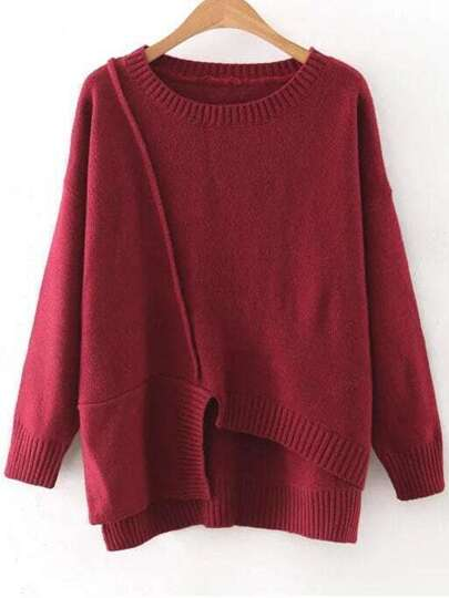 Red Round Neck Ribbed Trim Asymmetrical Sweater