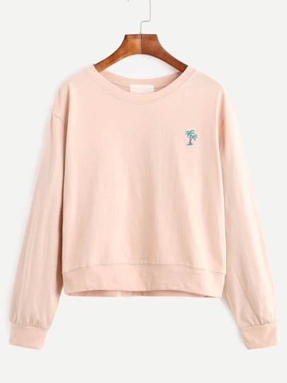 Pink Coconut Trees And Slogan Embroidered Sweatshirt