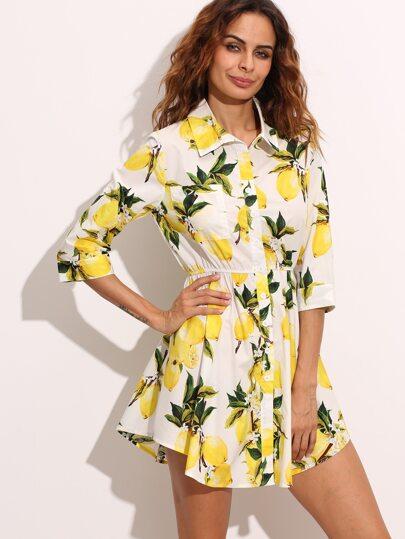 White Lemon Print Elastic Waist Shirt Dress