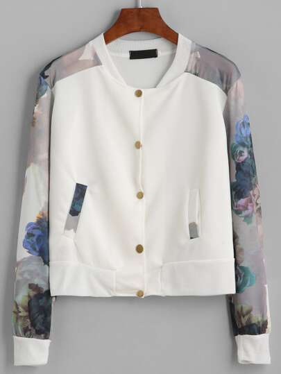 White Flower Print Contrast Sleeve Jacket