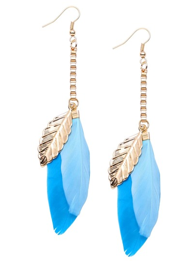Blue Feather Drop Earrings