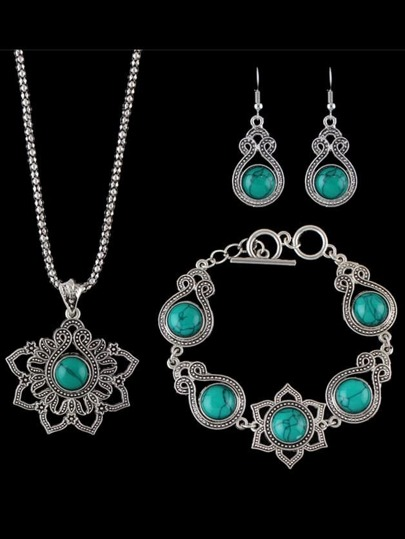 Green Indian Design Imitation Turquoise Necklace Bracelet Earrings Set