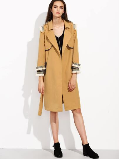 Camel Layered Wrap Coat With Embroidered Tape Detail