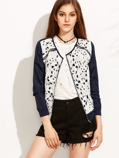 Blue Embroidered Lace Jacket