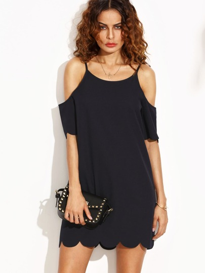 Dark Blue Scallop Hem Cold Shoulder Shift Dress