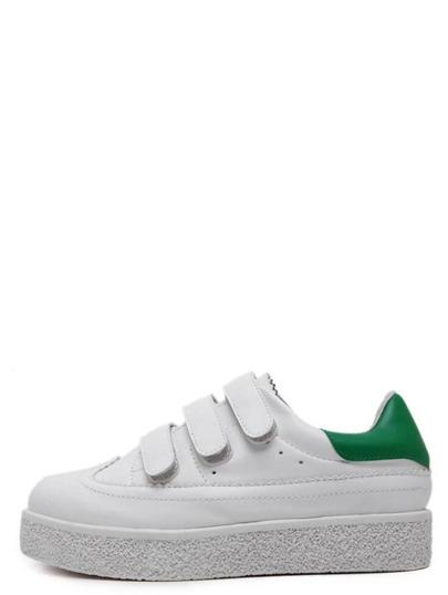 Sneakers en semelle plate bout rond - blanc