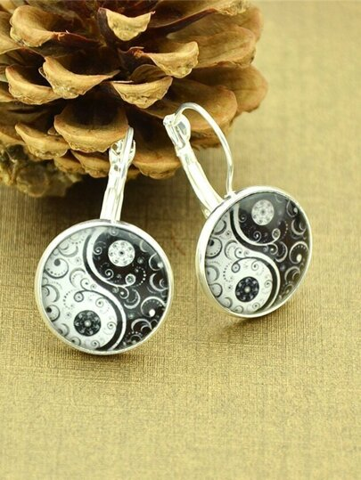 Silver Gothic Flower Imitation Gemstone Hoop Earrings For Women