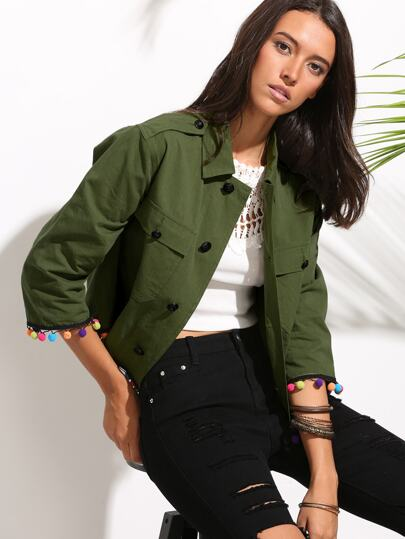 Army Green Turn-down Collar Pompom Trim Jacket