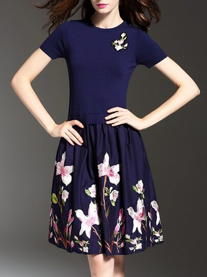 Blue Knit Flowers Embroidered A-Line Combo Dress