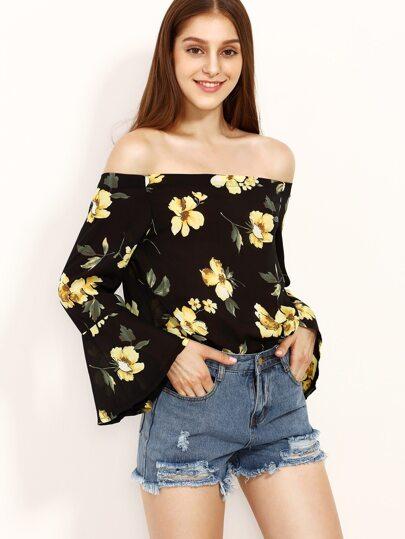 Black Boat Neck Floral Print Sheer Blouse