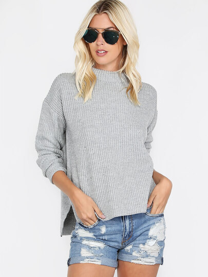 Grey Mock Neck Drop Shoulder Side Slit Sweater