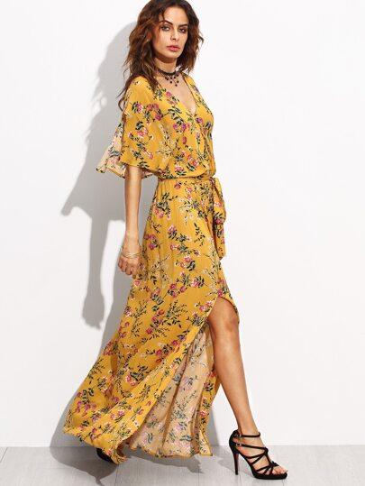 Yellow Print Split Side Maxi Dress