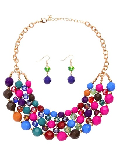 Multicolor Beaded Chunky Statement Jewelry Set