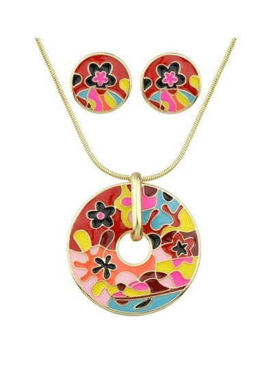 Red Enamel Flower Pattern Necklace Earrings Set