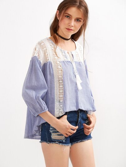 Blue Striped Tie Neck Lace Insert Blouse