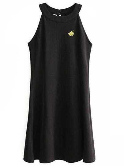 Black Embroidered Halter Sleeveless Dress
