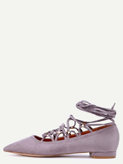 Grey Faux Suede Pointed Toe Criss Cross Flats