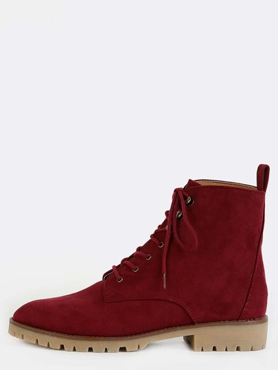 Gum Sole Suede High Top Boots BURGUNDY
