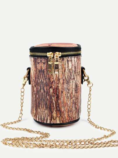 Brown Tree Stump Shaped Top Zip Cylinder Bag