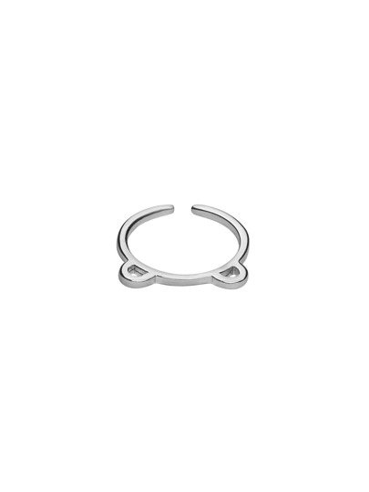 Silver Cute Little Bear Simple Ring