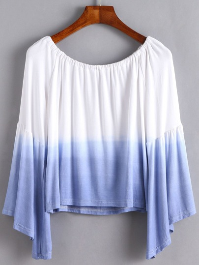 Ombre Boat Neck Bell Sleeve T-shirt