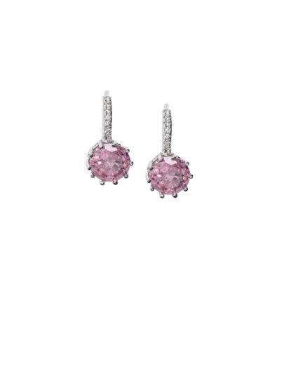 Pink Faux Gem Hoop Earrings