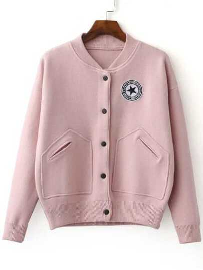 Pink Varsity Embroidered Patch Knitted Bomber Jacket With Buttons