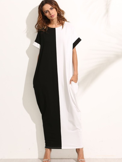 Contrast Longline Kaftan Dress