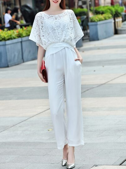 White Contrast Lace Open Shoulder Pockets Jumpsuit