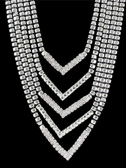 Silver Color Rhinestone Chunky Statement Collar Necklace