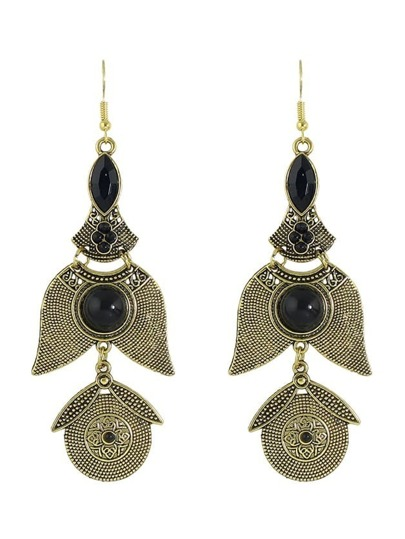 Antique Gold New Indian Imitation Gemstone Hanging Drop Earrings For Women