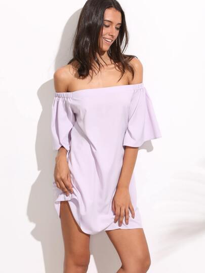 Light Purple Off The Shoulder Ruffle Sleeve Dress