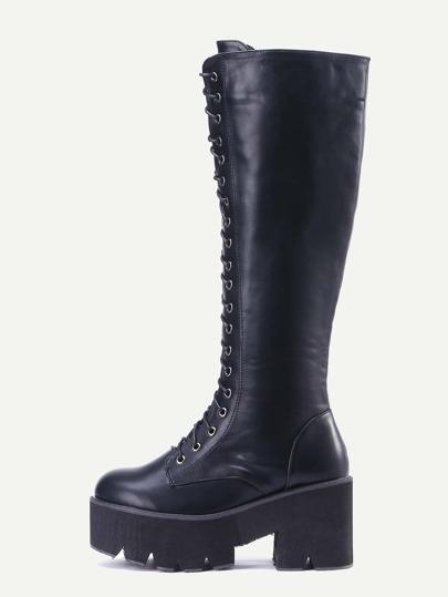Black PU Lace Up Platform Knee High Boots