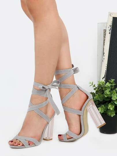 Open Toe Crystal High Heels GRAY