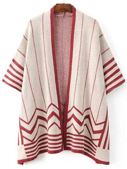 Red Striped Open Front Poncho Sweater