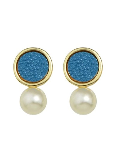 Blue New Coming Imitation Pearl Small Stud Earrings