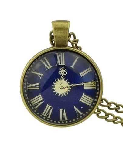Darkblue Pocket Watch Pendant Necklace