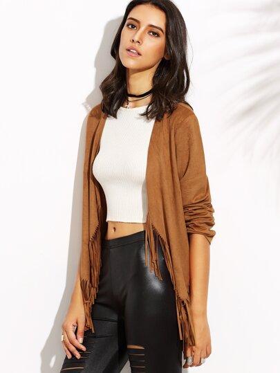 Camel Tassel Hem Long Sleeve Outerwear