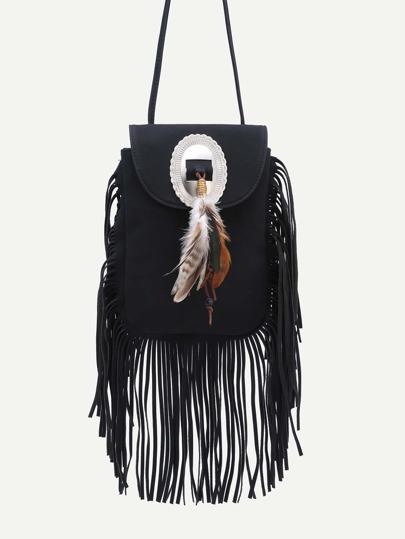 Black Feather Embellished Fringe Trim Flap Bag