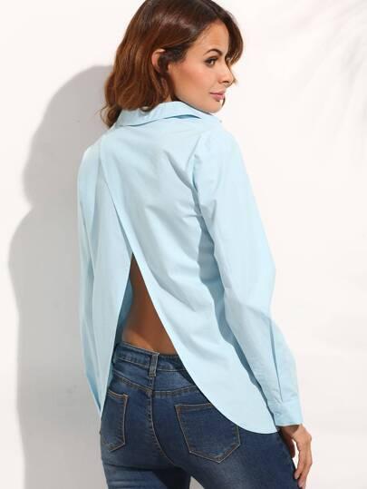 Light Blue Split Back Long Sleeve Blouse