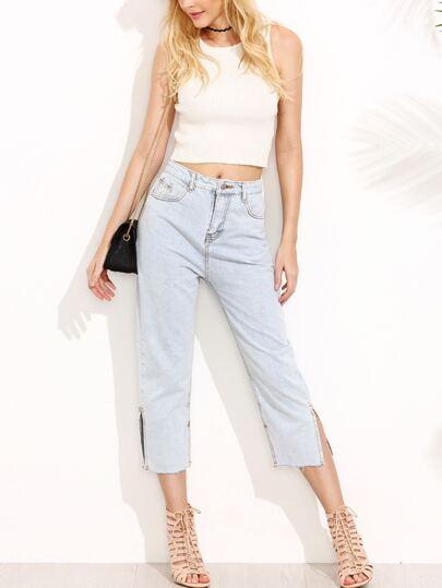 Pale Blue Slit Side Jeans