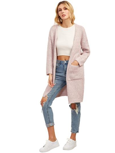 Light Pink Drop Shoulder Eyelet Pockets Cardigan