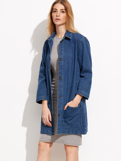Blue Slit Back Boyfrind Knee Length Denim Coat
