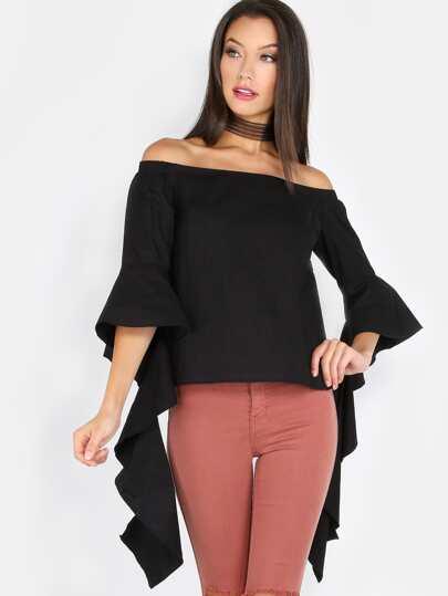 Open Shoulder Sleeve Tail Top BLACK