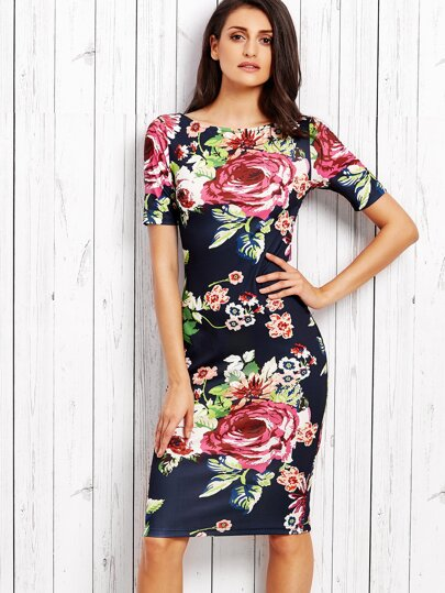 Navy Rose Print Slit Back Pencil Dress