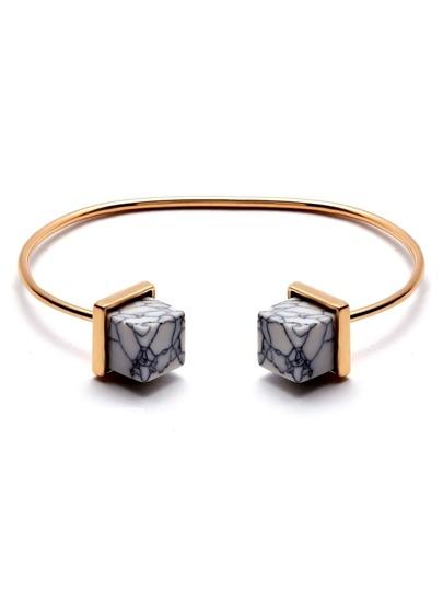 Gold Plated Geometric Gemstone Open Bangle